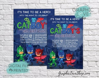 Personalized PJ Masks, Catboy, Gekko & Owlette Birthday Invitations, Any Age | 4x6 or 5x7, Digital or Printed, FREE US Shipping, Envelopes