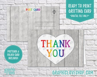Digital 4x6 Rainbow Rustic Heart Thank You Card, Folded & Postcard Included | High Res 300dpi JPG Files, Instant Download, Ready to Print