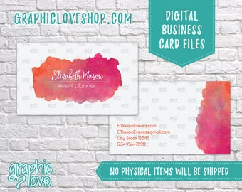Printable, Personalized Watercolor Double Sided Business Card | Calling Card, Contact, Small Business, Pink | Digital JPG, PNG & PDF Files