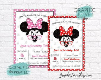 Personalized Modern Minnie Glasses Red or Pink Birthday Invitation, Any Age | 4x6 or 5x7, Digital or Printed, Envelopes, FREE US Shipping