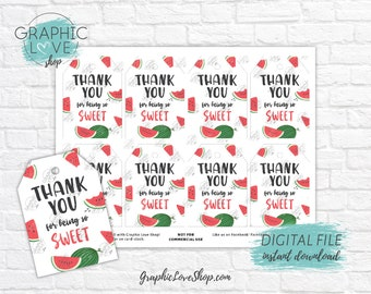 Digital Cute Sweet Celebration Watermelon Printable Thank You Favor Tags | High Resolution JPG File, Instant Download, Ready to Print
