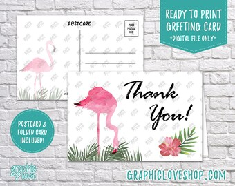 Digital 4x6 Pink Flamingo Tropical Thank You Card, Folded & Postcard | High Res JPG Files, Instant Download, NOT Editable, Ready to Print