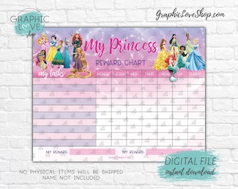 Digital Disney Princess Sparkle Blank Printable Reward Chart | High Resolution JPG File, Instant download NOT Editable, Ready to Print