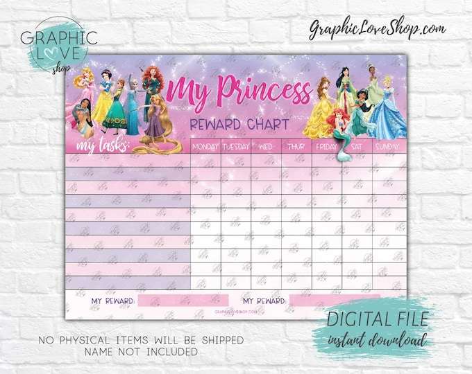 Featured listing image: Digital Disney Princess Sparkle Blank Printable Reward Chart | High Resolution JPG File, Instant download NOT Editable, Ready to Print