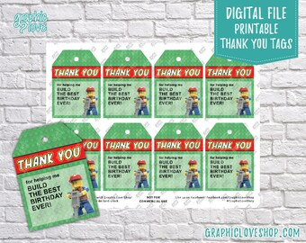Digital Lego Figure, Build the Best Birthday Ever Printable Thank You Tags | High Resolution JPG File, Instant Download, Ready to Print