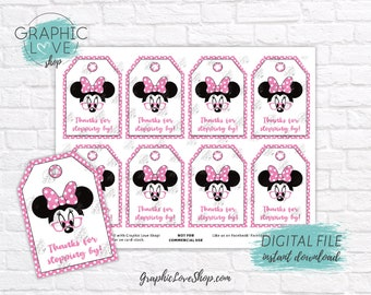 Digital Modern Minnie Cute Pink Glasses Printable Thank You Favor Tags | High Resolution 300dpi JPG File, Instant Download, Ready to Print