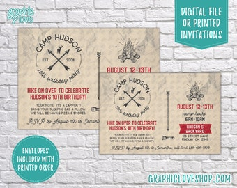 Personalized Camp Sleepover Postcard Rustic Birthday Invitation, Any Age | Campout | 4x6 or 5x7, Digital File or Printed, FREE US Shipping