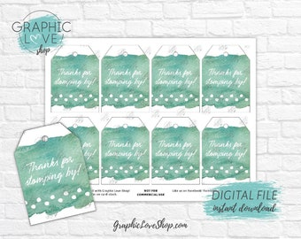 Digital Green Watercolor Dinosaur Tracks Printable Thank You Tags | High Resolution JPG File, Instant Download, Ready to Print