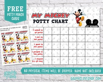 Digital Mickey Mouse Potty Training Chart, FREE Punch Cards |Disney Ears| High Res JPG Files, Instant download, NOT Editable, Ready to Print