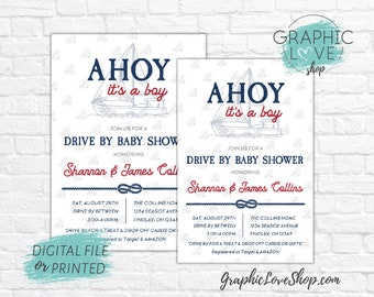 Personalized Ahoy It's A Boy, Vintage Nautical Drive By Baby Shower Invitation | 4x6 or 5x7, Digital JPG File or Printed, FREE US Shipping