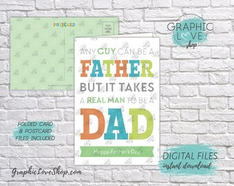 Digital 4x6 Real Man Happy Father's Day Card Stepdad, Folded & Postcard included | High Res JPG Files, Instant Download, Ready to Print