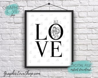 Digital File 8x10 LOVE Nativity Christian Christmas, Printable Wall Art | High Resolution 300dpi JPG, Instant Download Ready to Print
