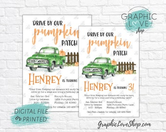 Personalized Drive By Pumpkin Patch Birthday Parade Invitation Fall Autumn, Any Age | 4x6 or 5x7 Digital File or Printed, FREE US Shipping