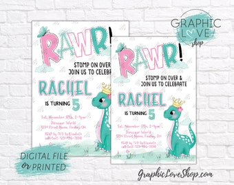 Personalized Cute Girl Princess Dinosaur Pink and Teal Birthday Invite, Any Age | 4x6 or 5x7, Digital File or Printed, FREE US Shipping