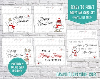 Digital Doodle Winter Friends Red Christmas Cards, Set of 5 designs, Folded & Postcard Included | PDF, Instant Download, Ready to Print
