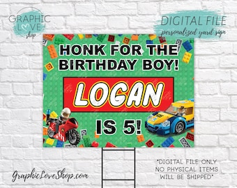 Digital File 18x24 Boys Building Blocks Personalized Happy Birthday Yard Sign, Any Age | Printable High Resolution JPG, Made To Order