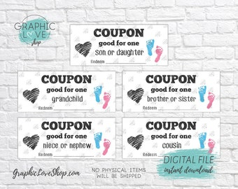 Digital Pregnancy Announcement Coupons, Grandchild, Niece/Nephew, Brother/Sister, Son/Daughter Cousin| PDF, Instant download, Ready to Print