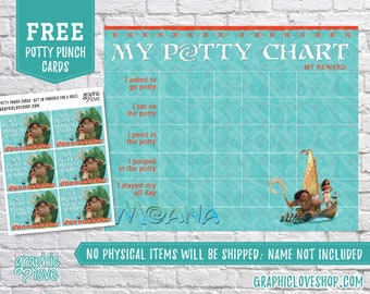 Digital Disney Moana and Maui Potty Training Chart, FREE Punch Cards | High Res JPG File, Instant download, NOT Editable, Ready to Print