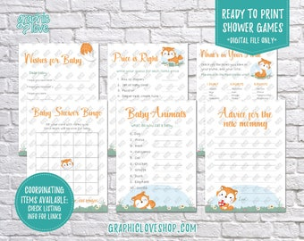 Digital 5x7 Fox Theme Baby Shower Game Pack with Wishes for Baby & Advice for Mom Cards | Printable PDF, Instant Download, Ready to Print