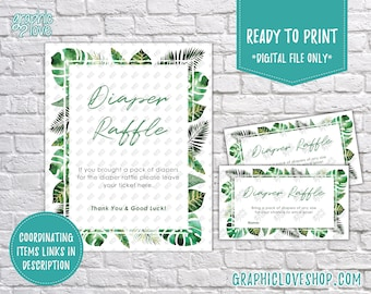 Digital Tropical Leaves Baby Shower Diaper Raffle Printable Sign and Cards, Coordinating | PDF File, Instant Download, Ready to Print