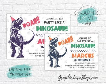 Personalized Trex in Party Hat, Dinosaur Birthday Invite, Any Age, Boy & Girl Colors | 4x6 or 5x7, Digital File or Printed, FREE US Shipping