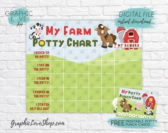 Digital Farm Animals Potty Training Chart, FREE Punch Cards | High Res JPG Files, Instant download, NOT Editable, Ready to Print