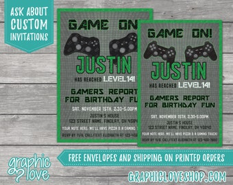 Personalized Game On Playstation or Xbox Gaming Teen Birthday Invitation, Any Age   4x6 or 5x7, Digital File or Printed, FREE USA Shipping