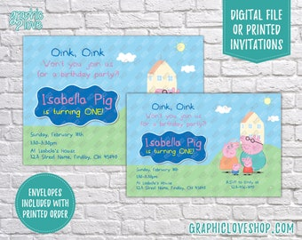 Peppa Pig, Oink Oink Personalized Birthday Invitation, Any Age | 4x6 or 5x7, Digital or Printed, Envelopes, FREE US Shipping and Envelopes