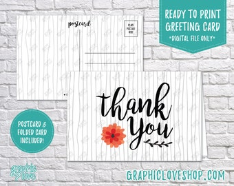 Digital 4x6 Modern Rustic Flower Wedding Thank You, Folded Card & Postcard Included   High Res JPG Files, Instant Download, Ready to Print