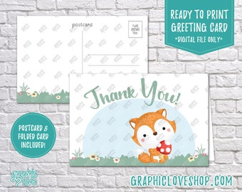 Digital 4x6 Cute Baby Fox Thank You Card, Folded & Postcard Included | High Res (300dpi) JPG Files, Instant Download, Ready to Print