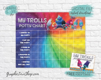 Digital Trolls Potty Training Chart, FREE Punch Cards | Dreamworks 2016 | High Res JPG Files, Instant download, NOT Editable, Ready to Print