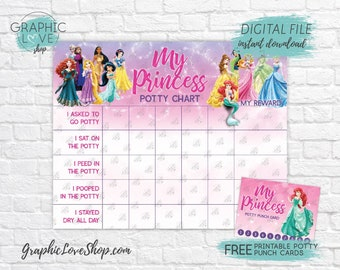 Digital Sparkle Disney Princesses Potty Training Chart, FREE Punch Cards | High Res JPG File, Instant download, NOT Editable, Ready to Print