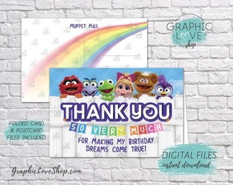 Digital 4x6 Muppet Babies Rainbow Disney Junior Thank You Card, Folded & Postcard | High Res JPG Files, Instant Download, Ready to Print