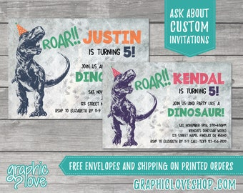 Personalized Trex in Party Hat, Dinosaur Birthday Invite, Any Age, Boy & Girl Colors   4x6 or 5x7, Digital File or Printed, FREE US Shipping