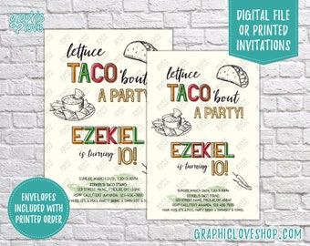 Taco Themed Personalized Birthday Party Invitation, Any Age Adults and Children | 4x6 or 5x7, Digital File or Printed, FREE US Shipping