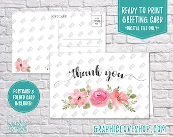 Digital 4x6 Watercolor Floral Bouquet Thank You Card, Folded & Postcard | High Resolution 300dpi JPG Files, Instant Download, Ready to Print