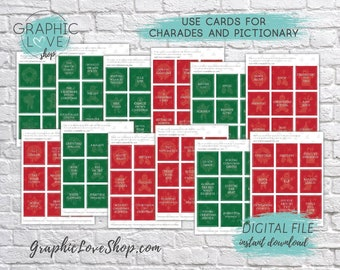 Printable Christmas/Holiday Party Charades or Pictionary Game 99 Cards, Extra Blank Cards | PDF, Instant Download, Ready to Print