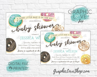 Personalized Watercolor Sweet Donut Baby Shower Invitation, Gender Neutral | 4x6 or 5x7, Digital JPG File or Printed, FREE US Shipping