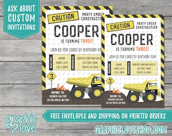 Construction Site, Dump Truck Personalized Birthday Invitation, Any Age | 4x6 or 5x7, Digital File or Printed, FREE US Shipping & Envelopes