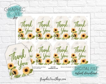 Digital Watercolor Sunflowers Printable Thank You Tags, Baby Shower Wedding | High Resolution JPG File, Instant Download, Ready to Print
