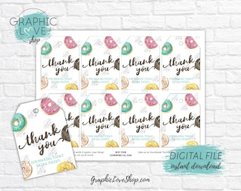 Digital Watercolor Donut Printable Thank You Tags, Baby Shower Birthday Party | High Resolution JPG File, Instant Download, Ready to Print