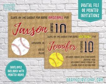 Fastpitch Softball or Baseball, Ball Diamond Birthday Invitation, Any Age | 4x6 or 5x7, Digital File or Printed, Envelopes, FREE US Shipping