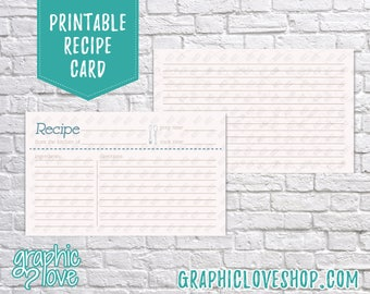 Digital 3x5 Fork & Spoon Double Sided Printable Recipe Card   Bridal Shower Activity   High Res JPG Files, Instant Dowload, Ready to Print