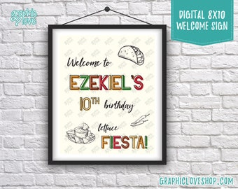 Digital 8x10 Taco Fiesta Personalized Birthday Party Welcome Sign, with Age | Printable High Resolution JPG File, Made To Order