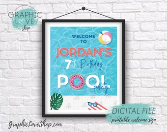 Digital 8x10 Beach Summer Swimming Pool Birthday Party Personalized Welcome Sign Any Age | Printable High Resolution JPG File, Made To Order