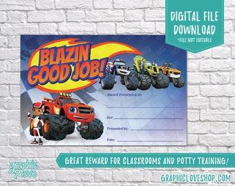 Digital 4x6 Blaze and the Monster Machines, Good Job Reward Certificate | High Res Printable JPG File, NOT Editable, Ready to Print