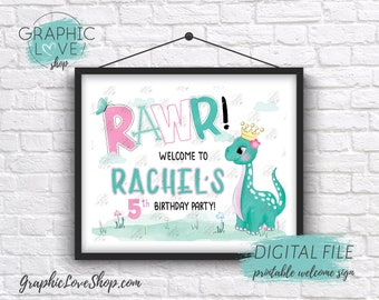 Digital 8x10 Cute Girl Princess Dinosaur Birthday Personalized Welcome Sign Any Age | Printable High Resolution JPG File, Made To Order