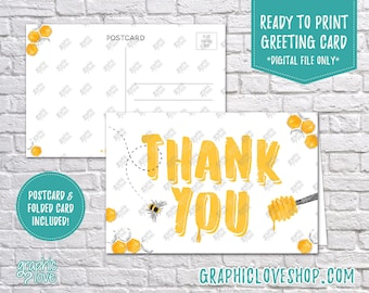 Digital 4x6 Sweet Honey Bee Thank You Card, Printable Folded & Postcard Files Included | High Resolution, Instant Download, Ready to Print