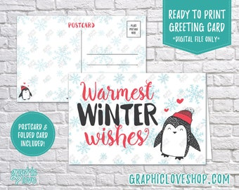 Digital 4x6 Warm Winter Wishes Penguin Holiday Card, Folded Card & Postcard included | High Res JPG Files, Instant Download, Ready to Print