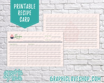Digital 3x5 Double Sided Cupcake Recipe Card   Dessert, Pasteries, Sweet, Baking   High Res JPG Files, Instant Dowload, Ready to Print